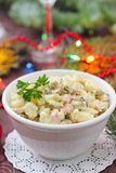 Russian traditional salad Olivier for New Year party Stock Image