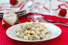 Russian traditional salad Olivier for New Year party Stock Photography