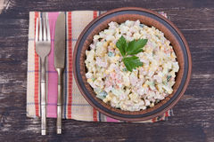 Russian traditional salad olivier with pea Royalty Free Stock Photo