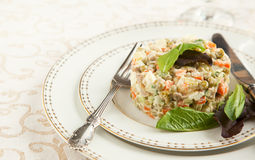 Russian traditional salad Olivier. Royalty Free Stock Images
