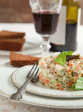 Russian traditional salad Olivier. Royalty Free Stock Photography