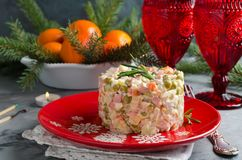 Russian traditional salad Olivier with vegetables and meat. Winter Christmas salad Stock Photography