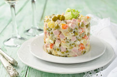 Russian traditional salad Olivier with vegetables and meat Royalty Free Stock Photography