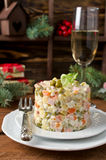 Russian traditional salad Olivier with vegetables and meat Royalty Free Stock Image