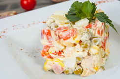 Russian traditional salad. Vegetable Salad Stock Photo