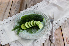 Russian traditional salted cucumber. Russian traditional appetizing - mild salted cucumber Royalty Free Stock Image
