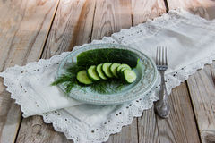 Russian traditional salted cucumber. Russian traditional appetizing - mild salted cucumber Stock Photo