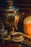 Russian traditional tea with samovar Stock Image