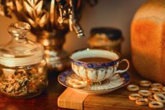 Russian traditional tea with samovar Royalty Free Stock Photo