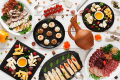 Russian traditional snacks, tableful, banquet Royalty Free Stock Photo