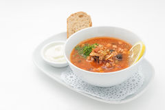 Russian traditional soup with mixed meat Stock Photo