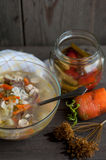 Russian traditional soup with pickles stock images