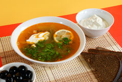 Russian traditional soup - solyanka Royalty Free Stock Images