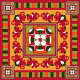 Russian traditional square ornament with flowers o Stock Image
