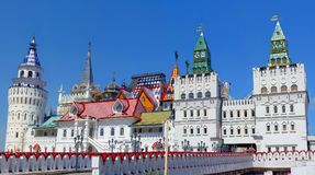 Russian traditional stone and wooden architecture – Izmailovsky Kremlin in Moscow stock photo
