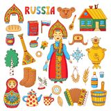 Russian traditional symbols doodle colrful icons vector set. Russian traditional symbols doodle colrful icons with matreshka, samovar, balalaika, ushanka and Royalty Free Stock Photos