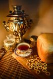 Russian traditional tea with samovar Stock Photography