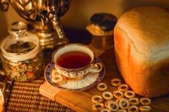 Russian traditional tea with samovar Stock Photo