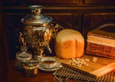 Russian traditional tea with samovar Royalty Free Stock Photography
