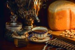 Russian traditional tea with samovar Royalty Free Stock Image