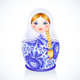 Russian traditional vector doll in Gzhel style Royalty Free Stock Photos