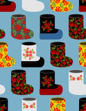 Russian traditional winter shoes seamless pattern.  Royalty Free Stock Image