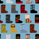 Russian traditional winter shoes seamless pattern.  Stock Photo