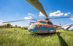 The russian transport helicopter Mi-6 at an abandoned aerodrome. SAMARA, RUSSIA - MAY 25, 2014: The russian transport helicopter Mi-6 at an abandoned aerodrome stock photos