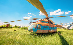 The russian transport helicopter Mi-6 at an abandoned aerodrome Royalty Free Stock Images
