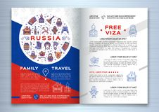 Russian travel brochure template. Colorful russian icons on a flag background. Traditional line symbols. Doll matryoshka, samovar, balalaika, vodka and food Royalty Free Stock Photos