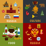 Russian travel and culture flat icons Royalty Free Stock Photo