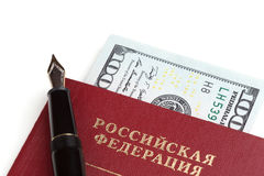 Russian travel passport with money Stock Photography