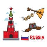 Russian travel symbols set. Vector illustration of traditional Russian symbols with Russia travel destination text and flag Stock Photo