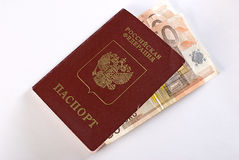 Russian Traveling Passport And Money. Royalty Free Stock Image