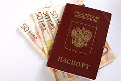 Russian Traveling Passport And Money. Royalty Free Stock Photo