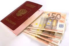 Russian Traveling Passport and money. Stock Photo
