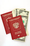 Russian Traveling Passport and money Royalty Free Stock Images