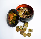 Russian Treasury. Piggy Bank with impaired Russian rubles Stock Photos