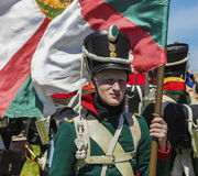 Russian troop Napoleonic wars. NOVOSIBIRSK - 14 of JUNE 2014:Military-historical festival Siberian fire. Part 2. Russian troop Napoleonic wars Stock Photo