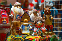 Russian trtadition dolls, ded-moroz and snegurochka. snowman, bear. Russian trtadition dolls, ded-moroz and snegurochka. bear, snowman Stock Photo