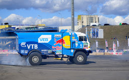 Russian truck rally Kamaz performs drift Royalty Free Stock Images
