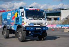 Russian truck rally Kamaz rides Royalty Free Stock Photos