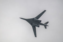 The Russian TU-160 bomber during a training flight in Central Russia. Royalty Free Stock Photo