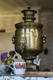Russian Tula samovar. Ancient samovar on a table for a tea drinking stock images