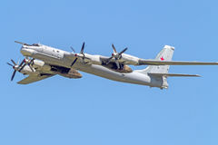 Russian turboprop strategic bomber. Tu-95MS product `B`, NATO reporting name  Bear  - a Soviet / Russian turboprop strategic bomber, the fastest propeller Stock Images