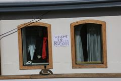 Russian two-masted schooner Krasotka. The inscription `Welcome to Russia` between the portholes on the superstructure. Time of the regatta THE TALL SHIPS RASES Stock Photo
