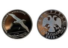Russian two silver rubles with albatross Royalty Free Stock Photography