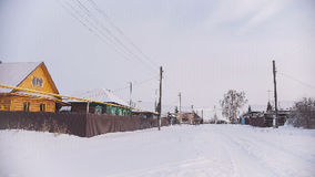Russian typical countryside - winter village in center of Volga, snow cold day Stock Image