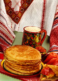 Russian typical food. With caviar Royalty Free Stock Image