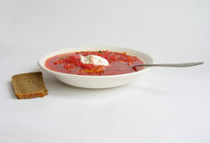 Russian - Ukrainian borsch and black bread Stock Images